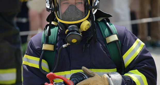 close up of a firefighter