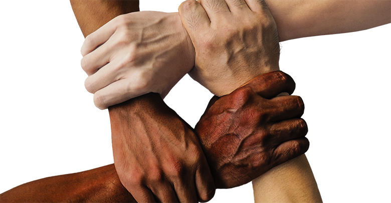 Interlinked hands - showing diversity