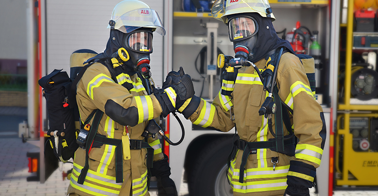 firefighters shaking hands